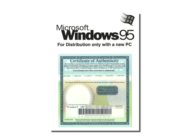 ソフトウェア販売 Windows95 OEM+メモリ Microsoft